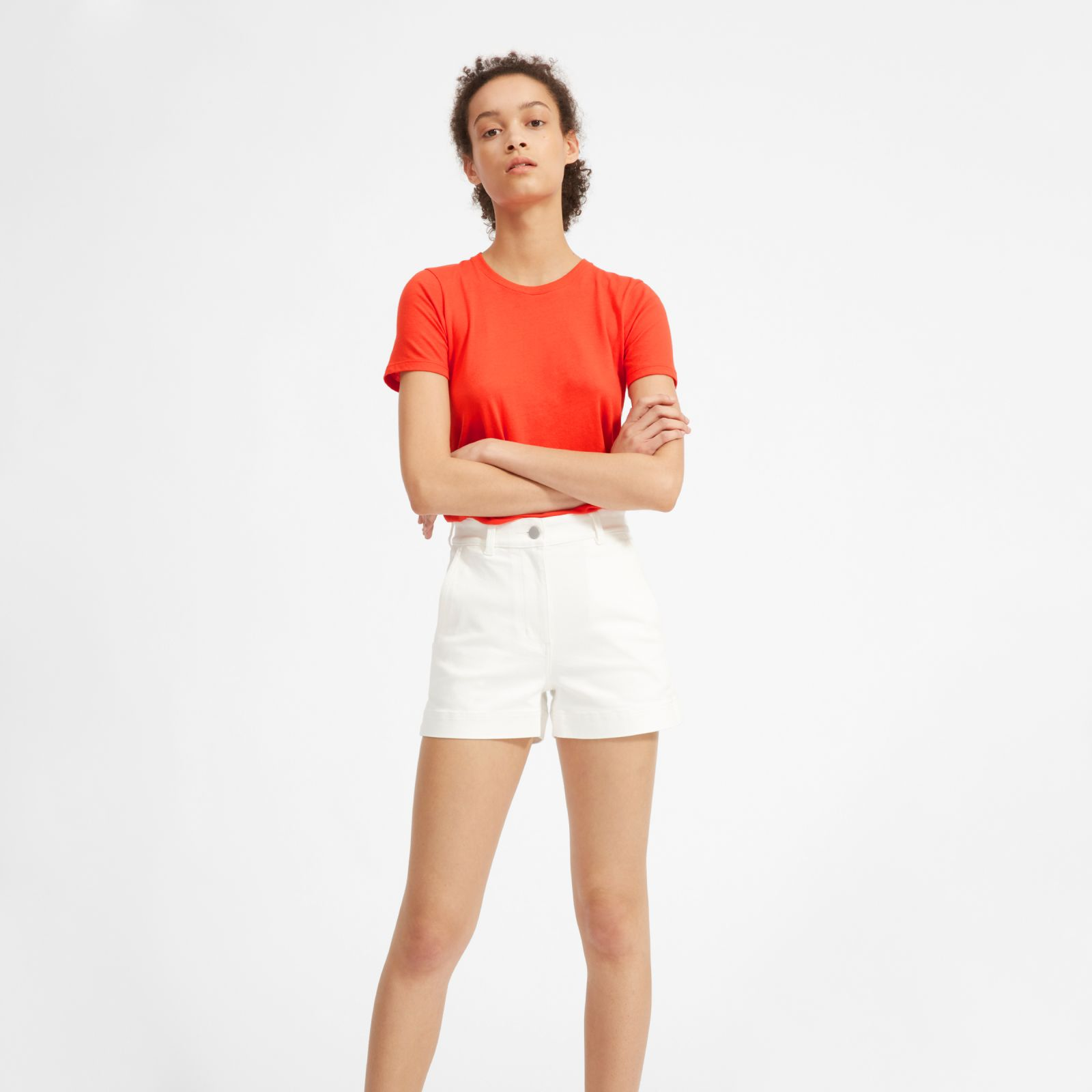 women's cotton crew t-shirt by everlane in poppy red, size m
