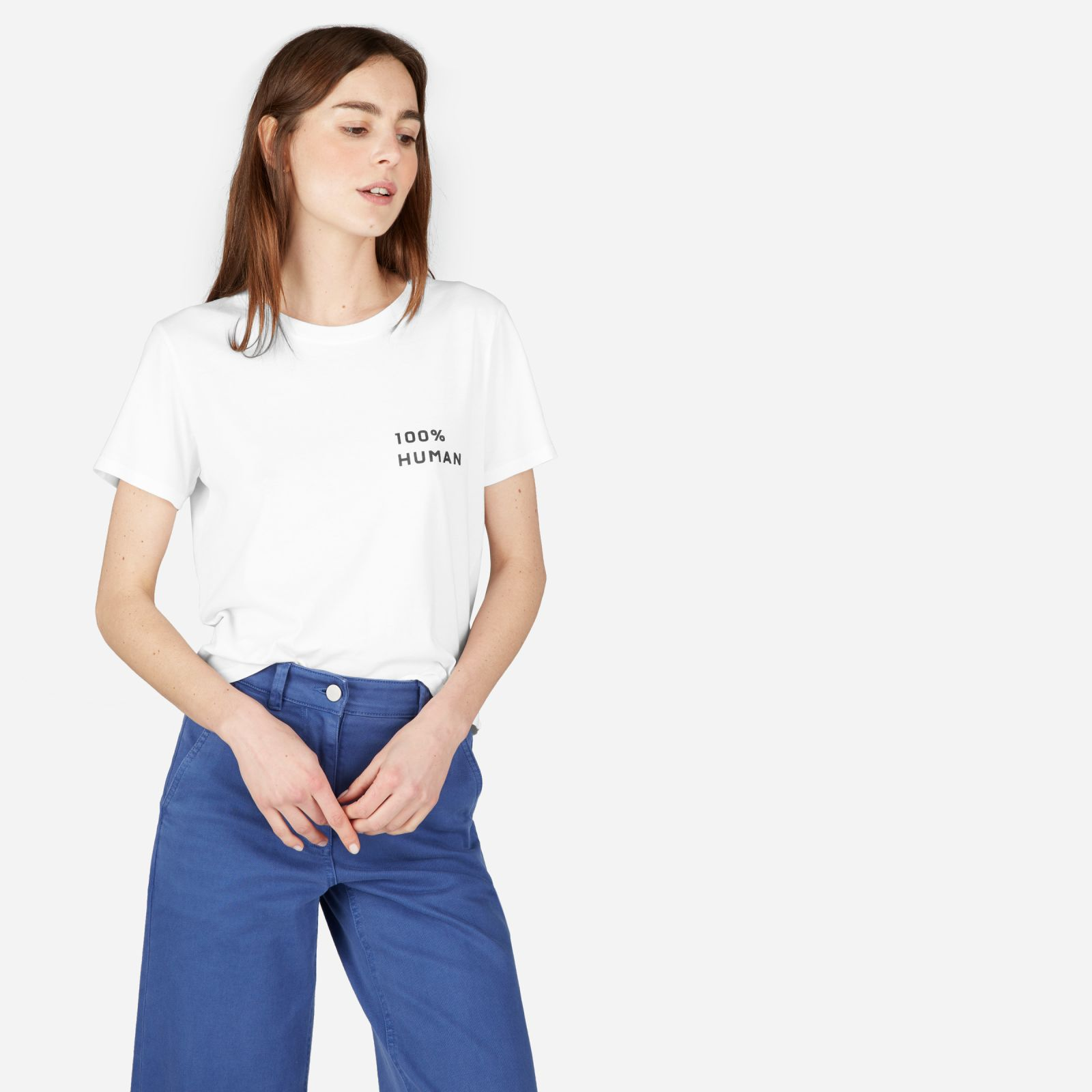 women's 100% human woman box-cut t-shirt in small print by everlane in white, size xl