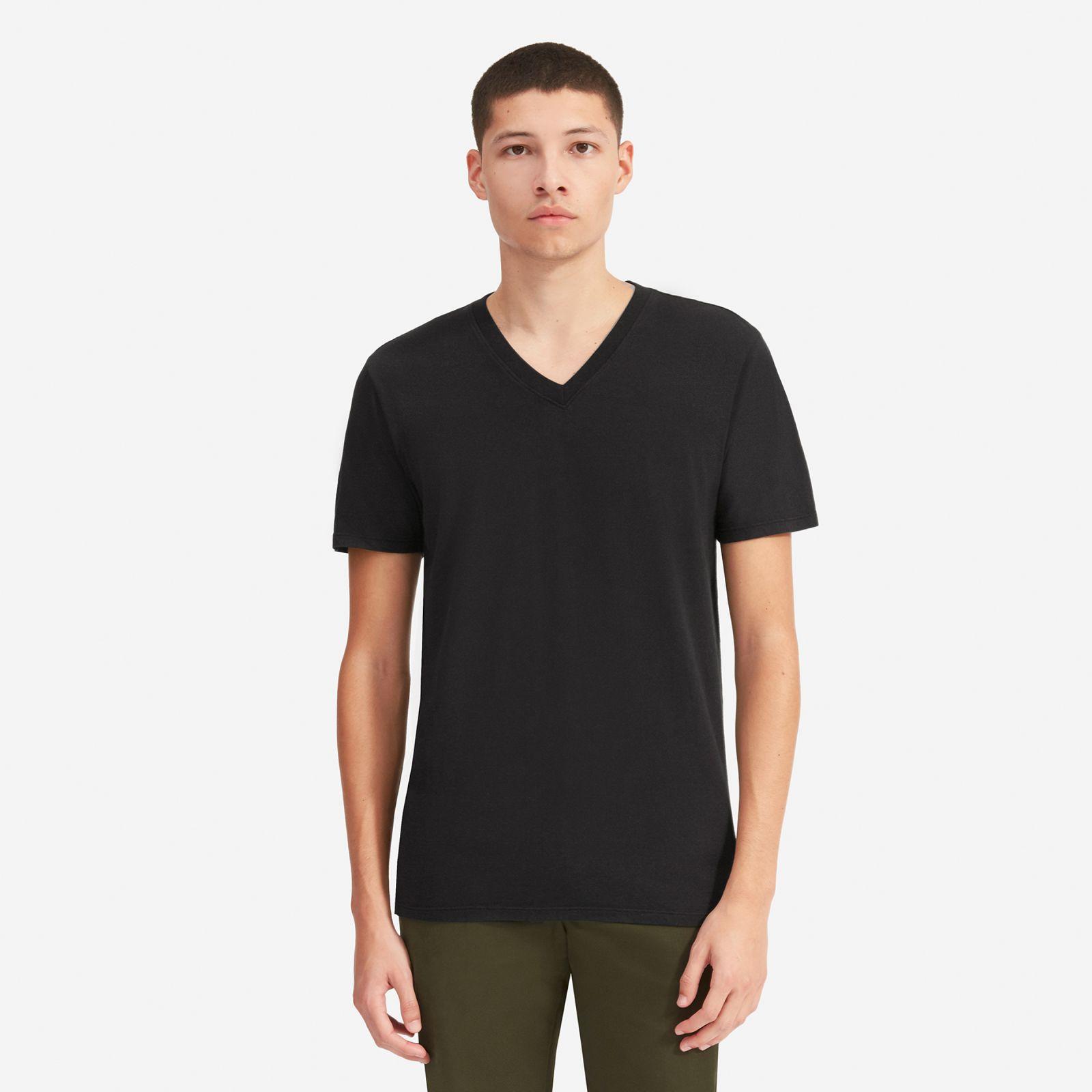 men's cotton v-neck t-shirt | uniform by everlane in true black, size xl