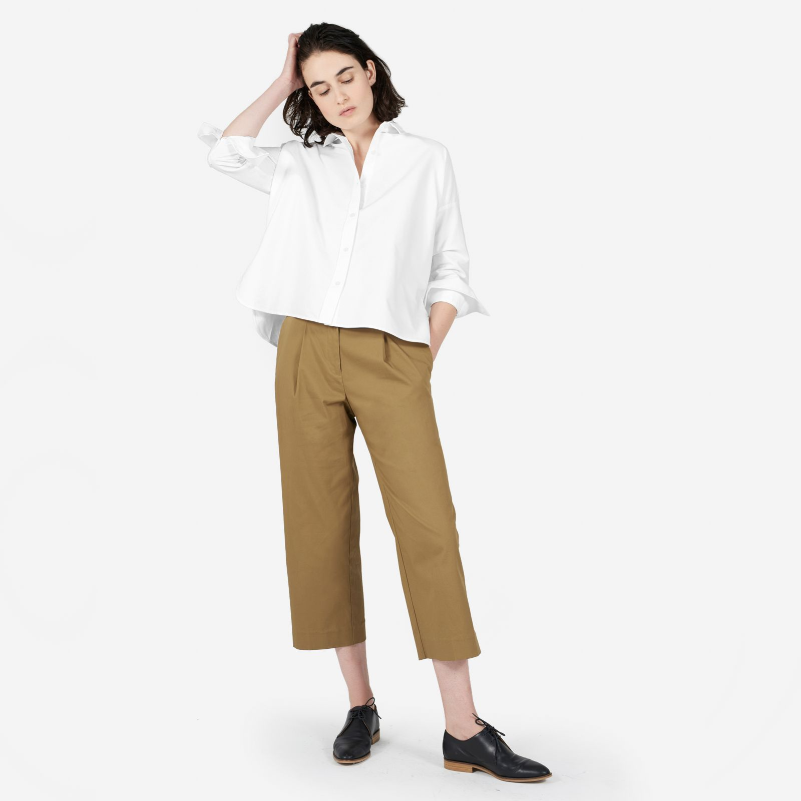 women's japanese oxford square shirt by everlane in white, size 10