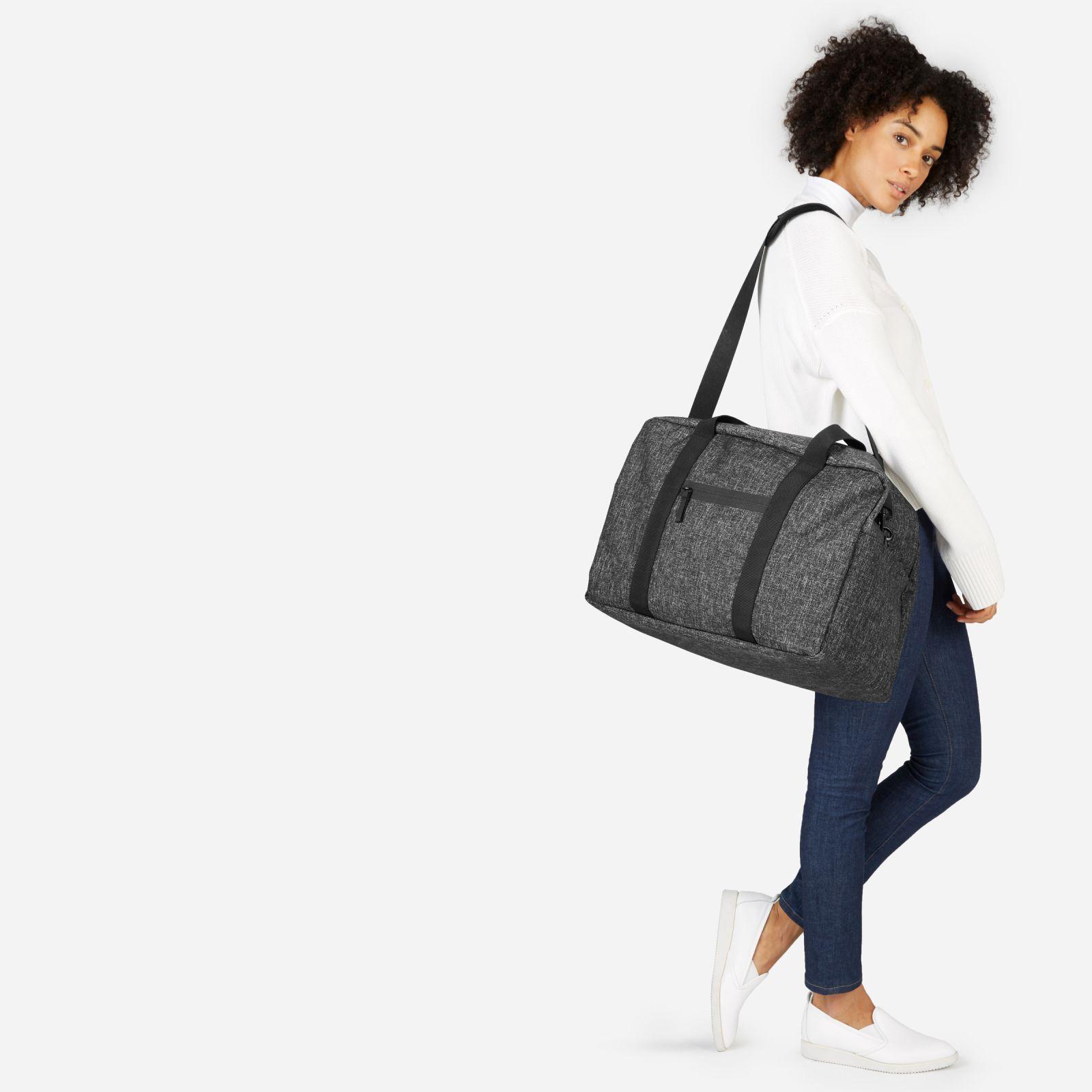 nylon weekender bag by everlane in dark grey crosshatch