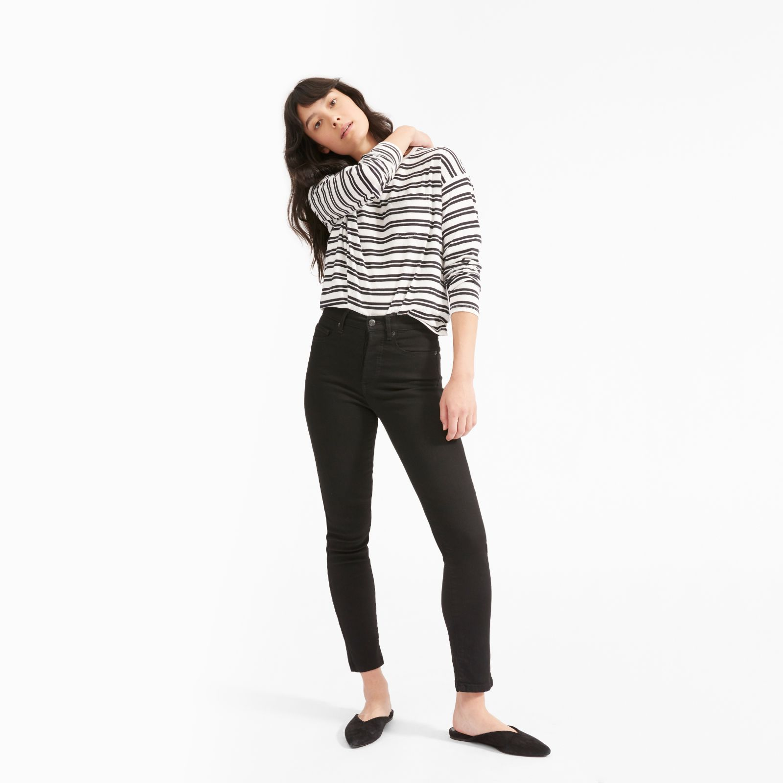women's long-sleeve box-cut pocket t-shirt by everlane in washed black / white double stripe, size xl
