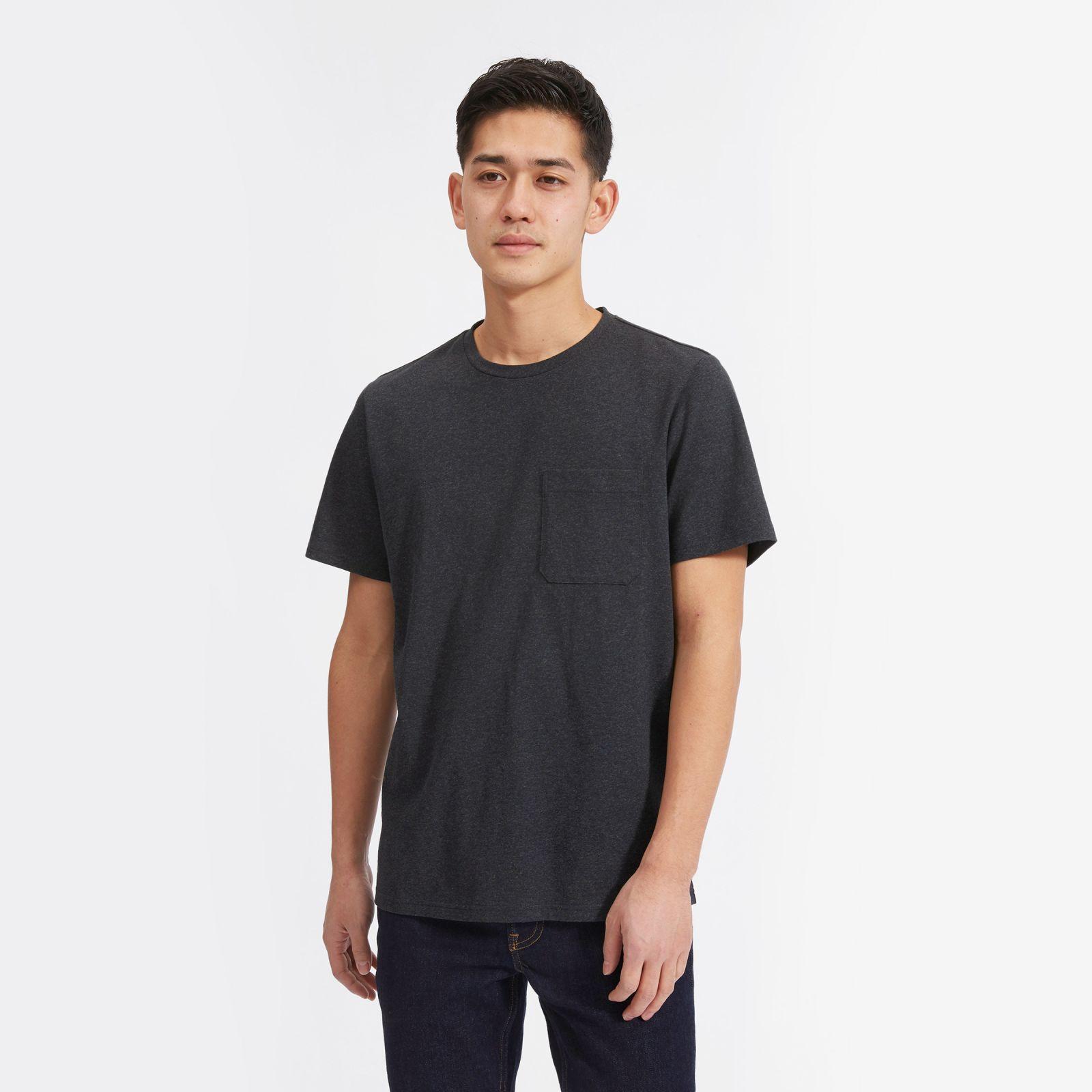 men's premium weight pocket t-shirt by everlane in heather navy, size xxl
