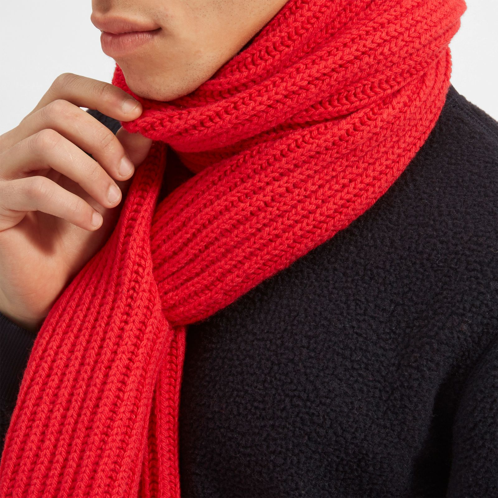 men's wool rib scarf by everlane in red