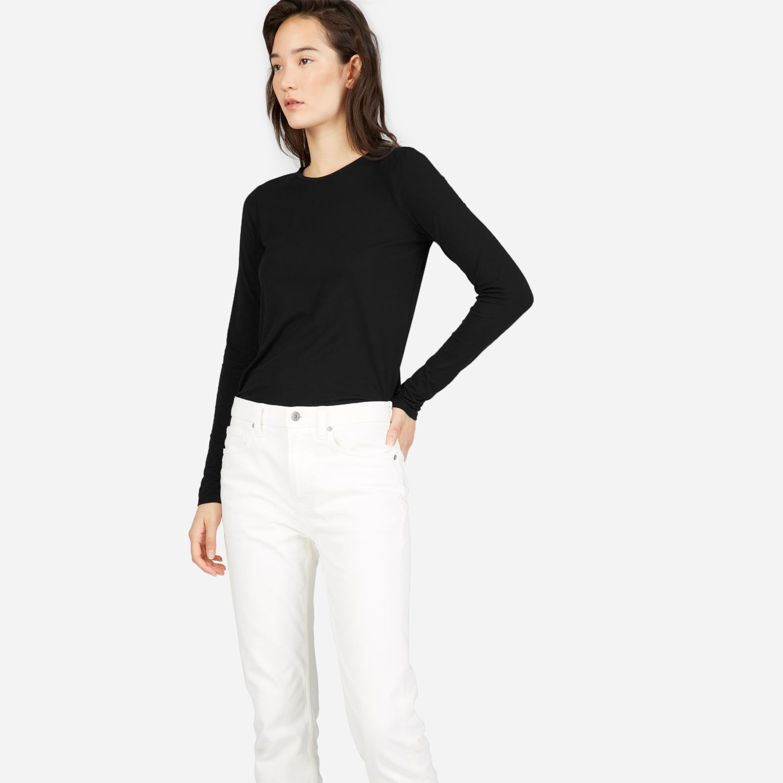 women's slim cotton long-sleeve crew sweater by everlane in black, size xl