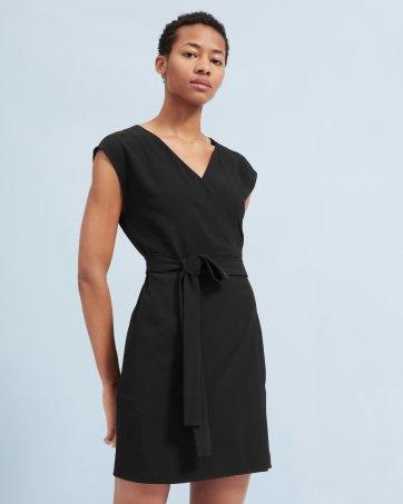 62b2fcbbad7 The Japanese GoWeave Short-Sleeve Mini Wrap Dress.  100. Black