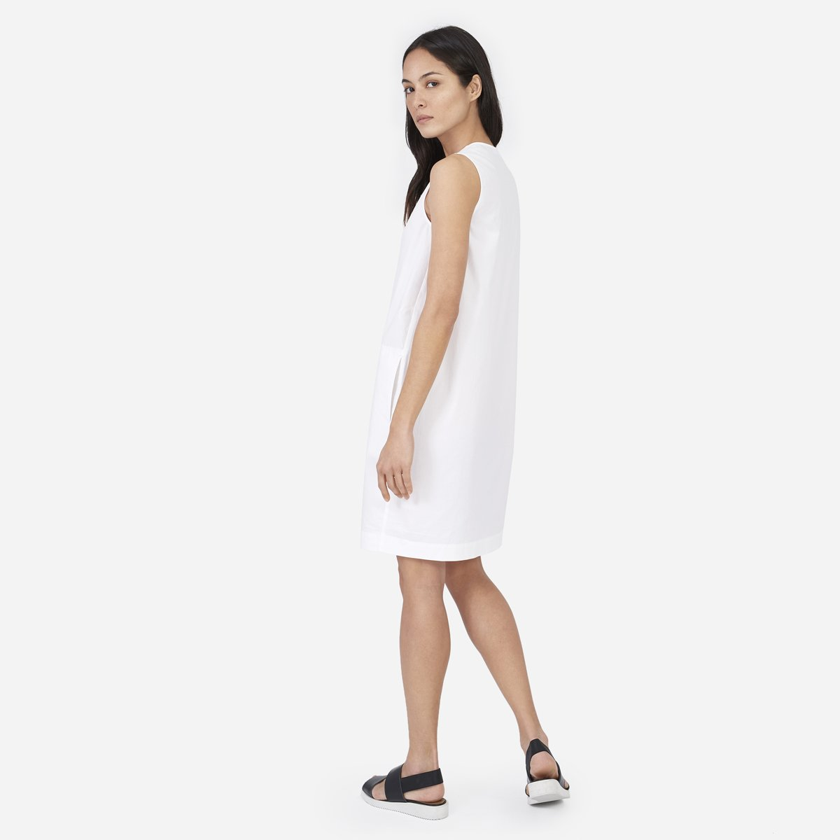 6211ff6355 Your browser does not support HTML5 video. Here is the link to the video W Poplin  V Neck Dress white.