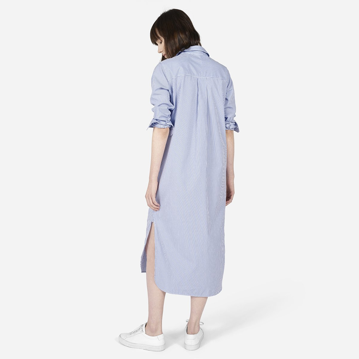 Womens Striped Cotton Poplin Shirt Dress Everlane