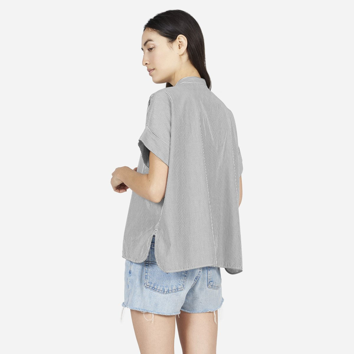 68042976ecb131 Women's Cotton Poplin Collarless Short-Sleeve Square Shirt | Everlane