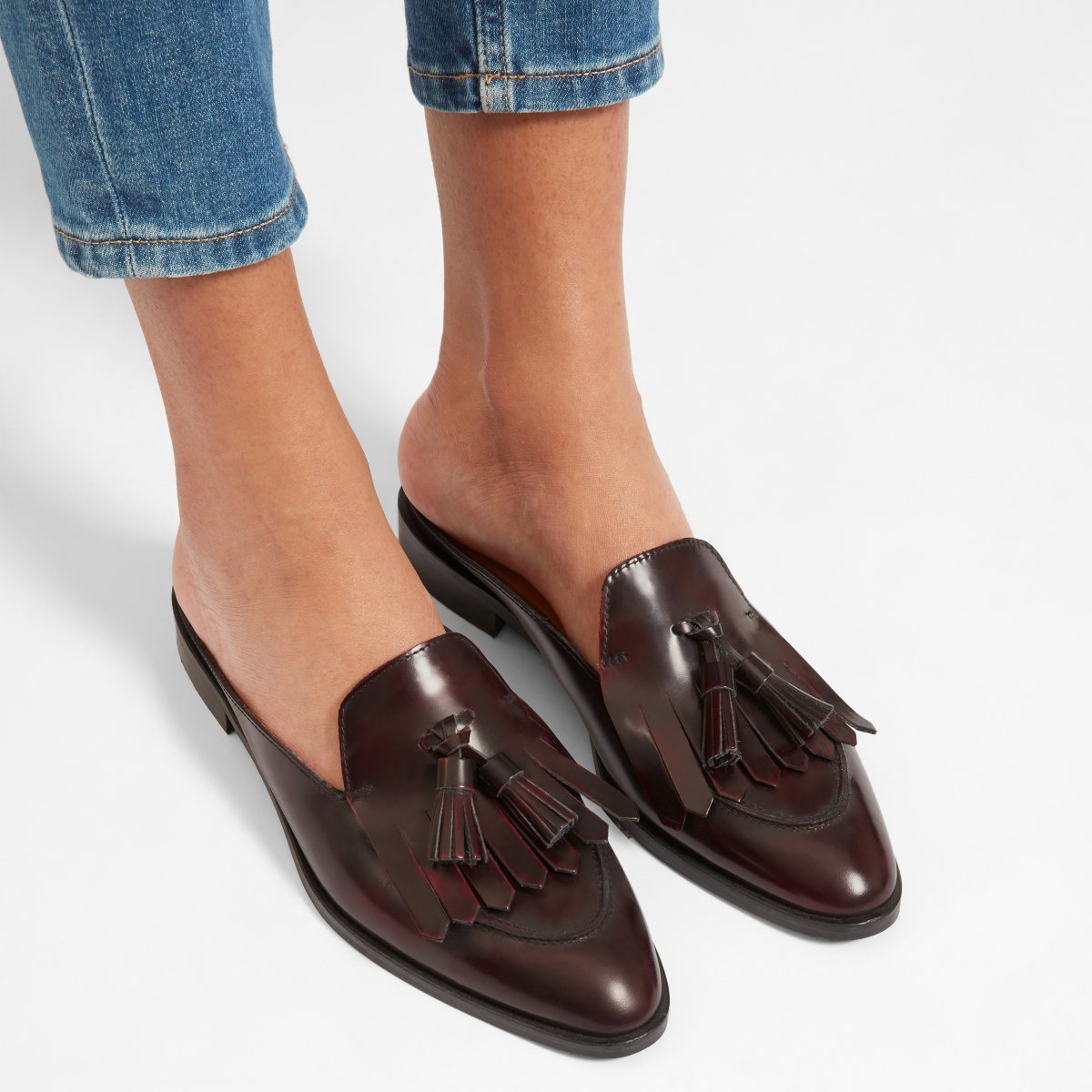 8d3fc43df85 The Modern Tassel Loafer Mule in Burgundy. Your browser does not support  HTML5 video. Here is the link to the video w tassle loafer burgandy .