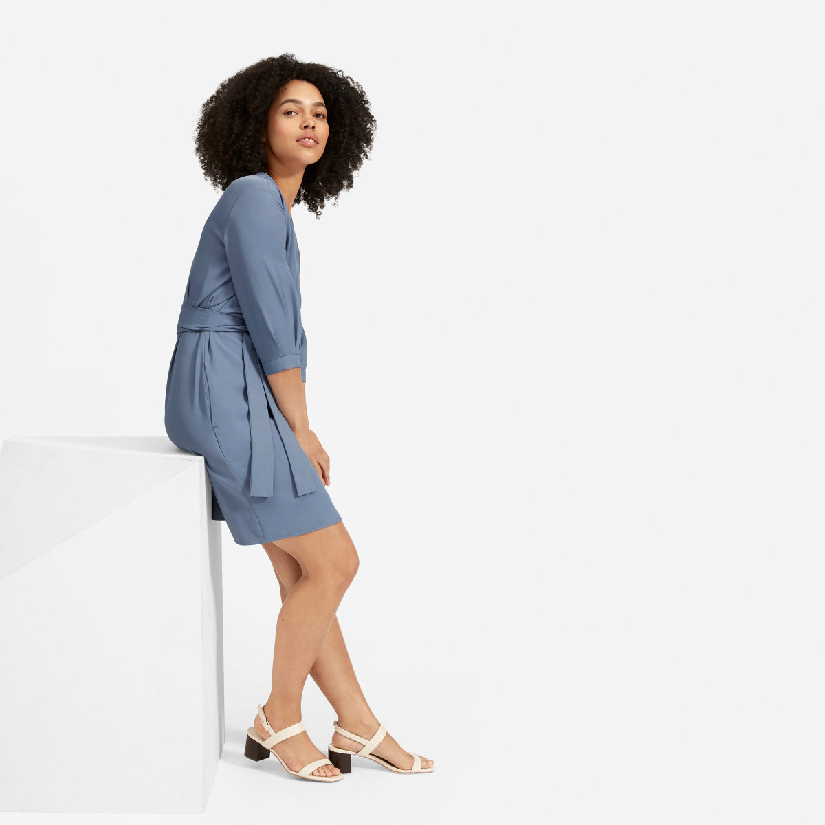 eab663bdcf0 Your browser does not support HTML5 video. Here is the link to the video  The Japanese GoWeave Long-Sleeve Mini Wrap Dress - Dusty Blue