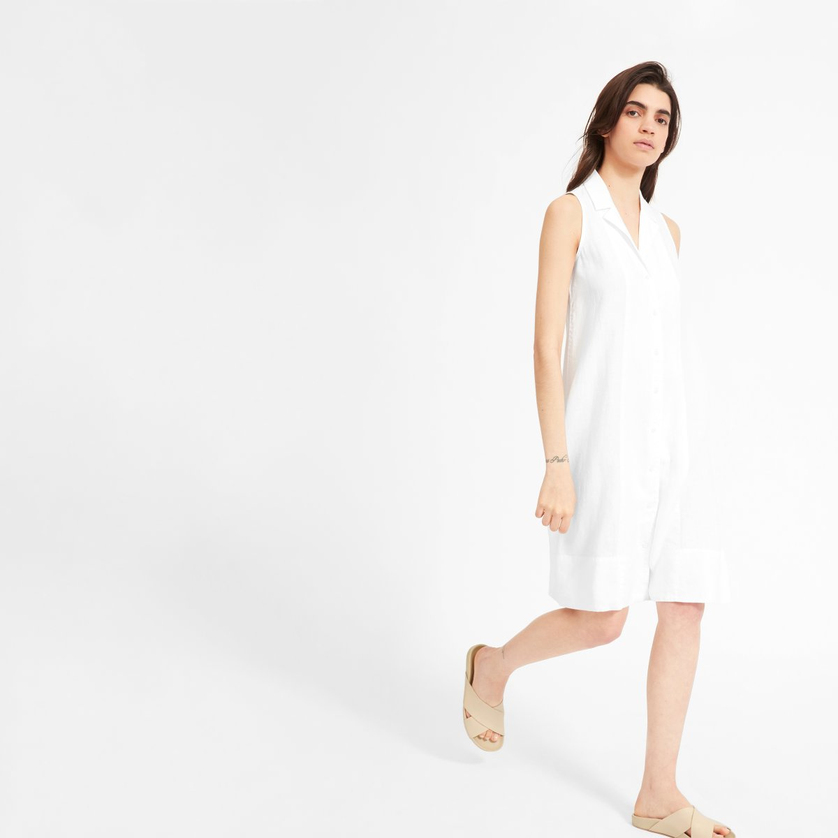 Womens Linen Sleeveless Shirtdress Everlane