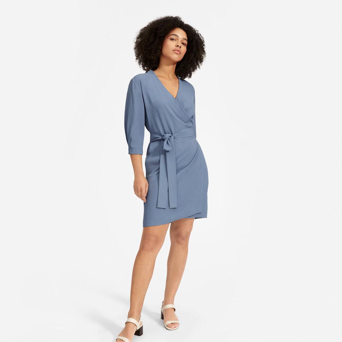 dc4f6eee21893 The Japanese GoWeave Long-Sleeve Mini Wrap Dress