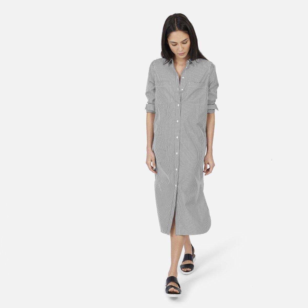 Womens Striped Cotton Poplin Shirt Dress Everlane