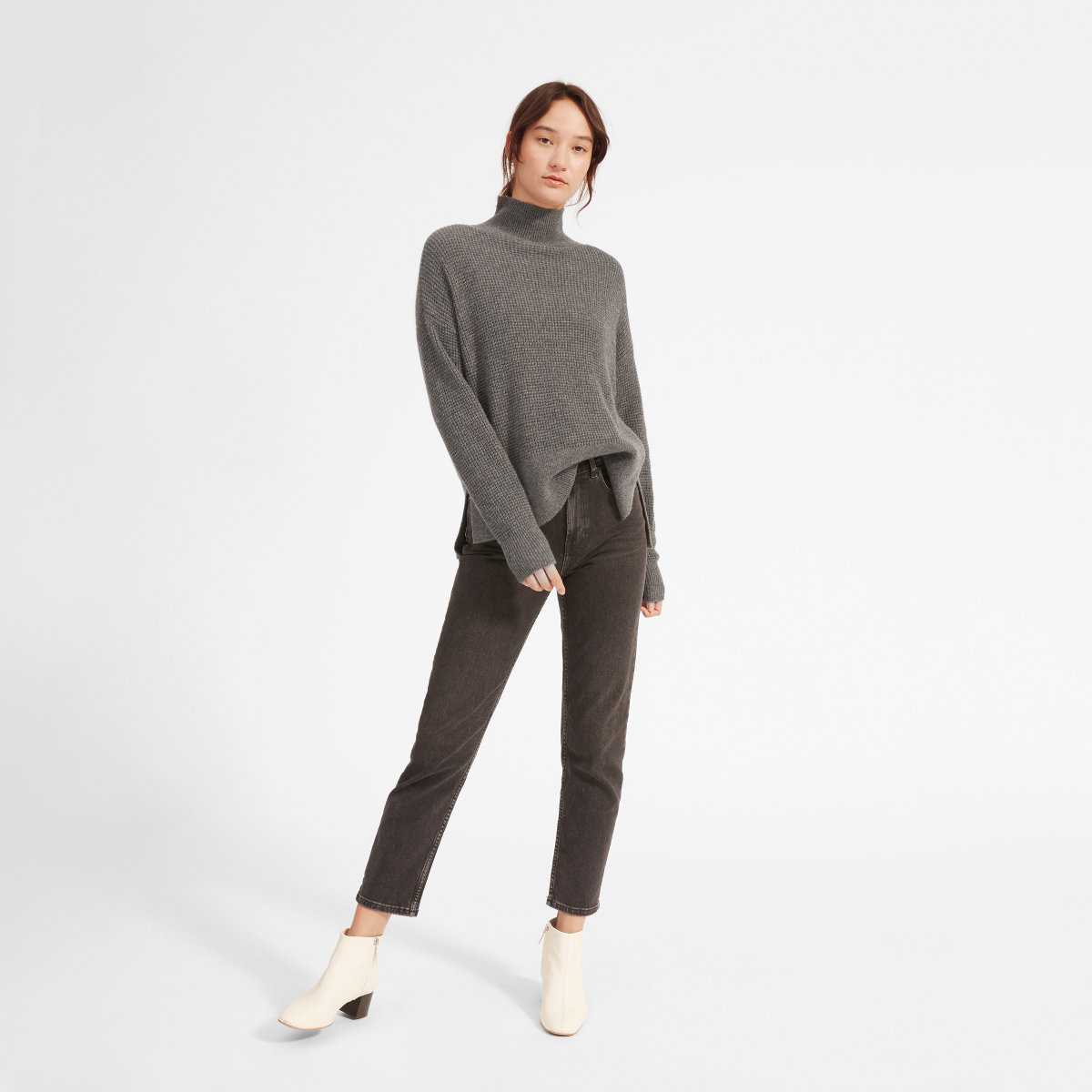 The Cashmere Waffle Square Turtleneck