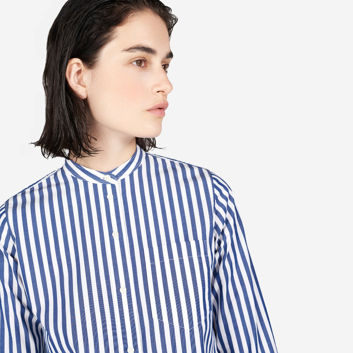 Womens Cotton Poplin Collarless Shirt Dress Everlane