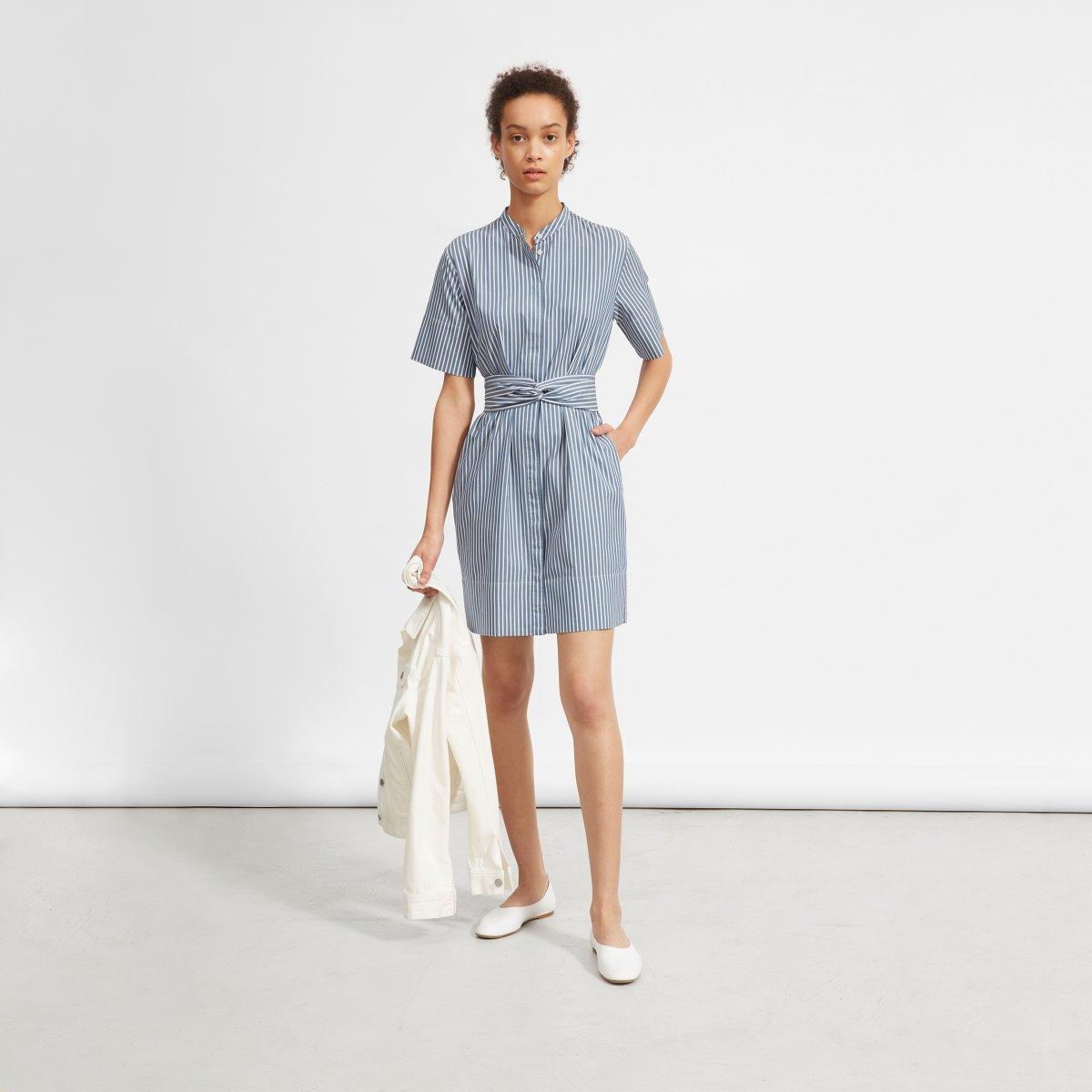 Womens Cotton Collarless Belted Shirtdress Everlane