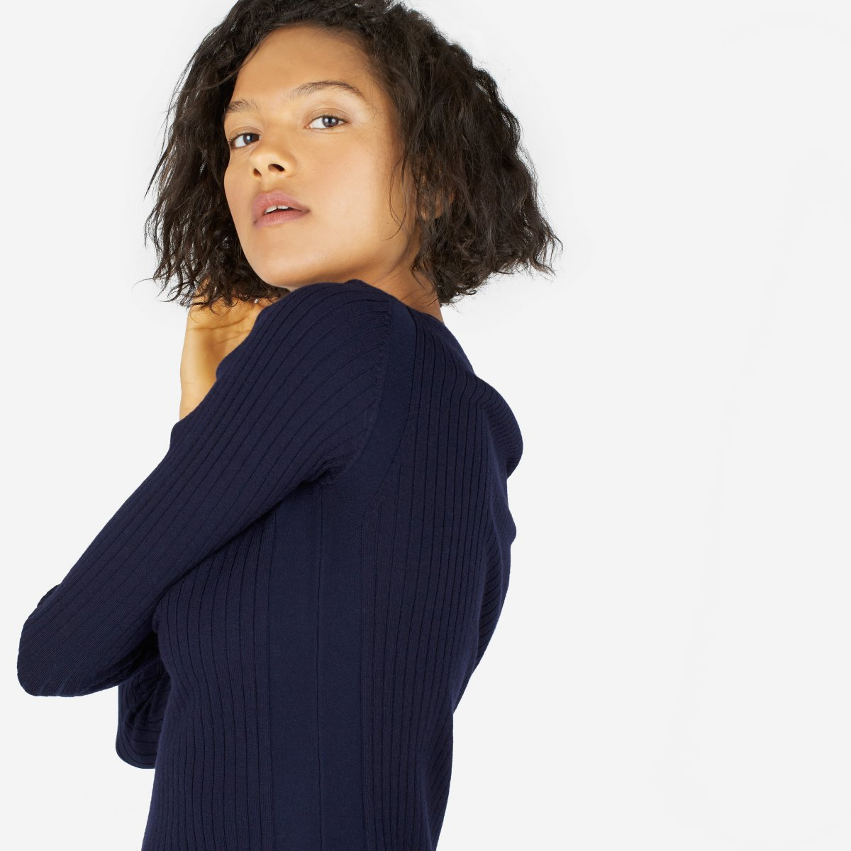 c1ee3c329fd ... Luxe Wool Ribbed Long. Your browser does not support HTML5 video. Here  is the link to the video w ribbed dress navy.