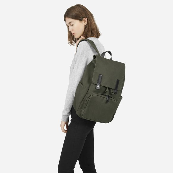 9bc32b14e4 The Modern Snap Backpack in Moss + Black Leather
