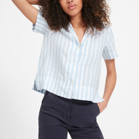 Women S Linen Notch Short Sleeve Shirt Everlane