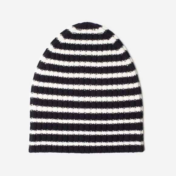 The Wool-Cashmere Beanie in White   Navy Stripe be8199774ee