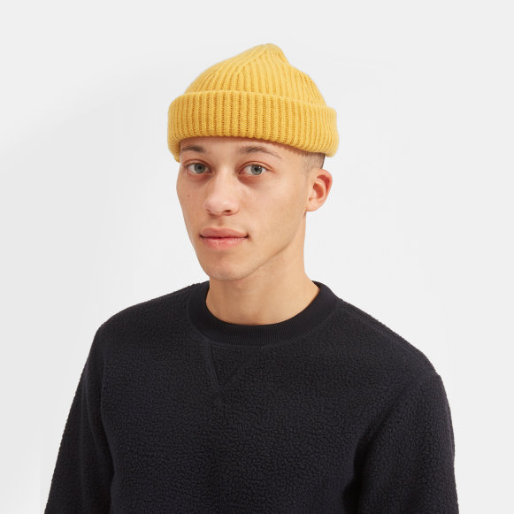 86d9cfec9b3 The Cashmere Rib Beanie in Yellow