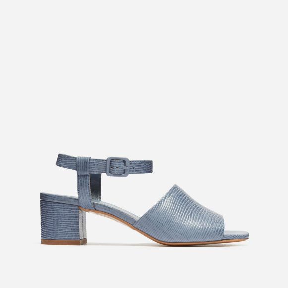 4654728c2b6 The Block Heel Sandal in Dusty Blue Lizard