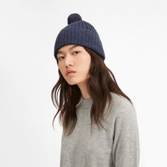 The Soft Wool Waffle Beanie in Blue Heather 3be24396d62