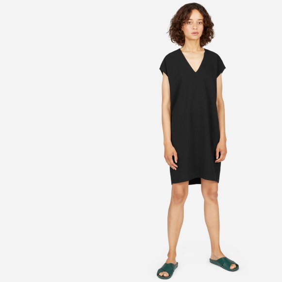 Womens Japanese Goweave V Neck Cocoon Dress Everlane