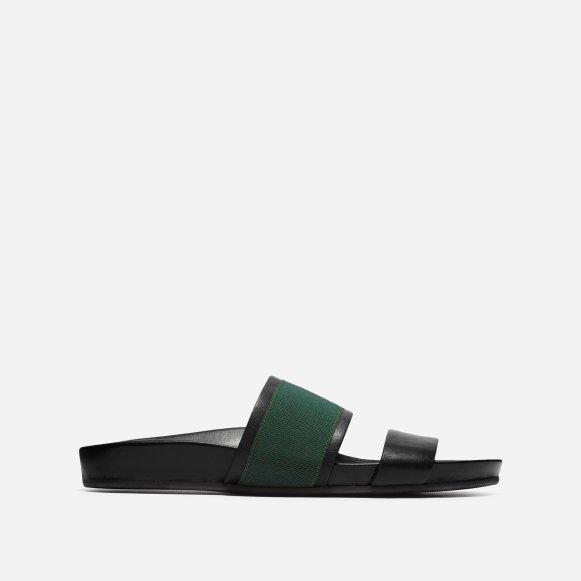 0ba294610709f The Form Two-Strap Sandal in Black   Green