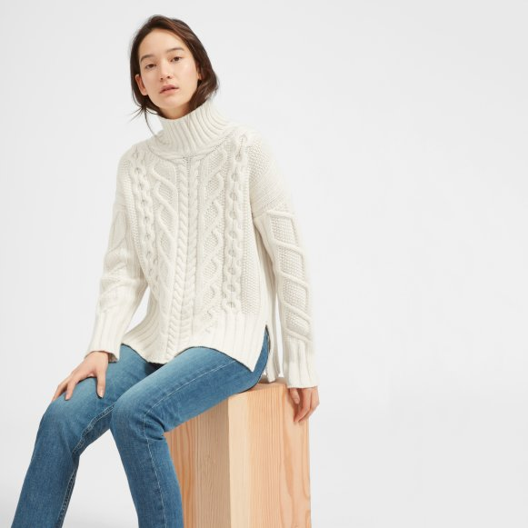Womens Wool Cashmere Cable Turtleneck Everlane