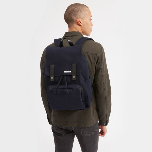 The Modern Snap Backpack in Navy + Black Leather 8a7dbf2b75fed