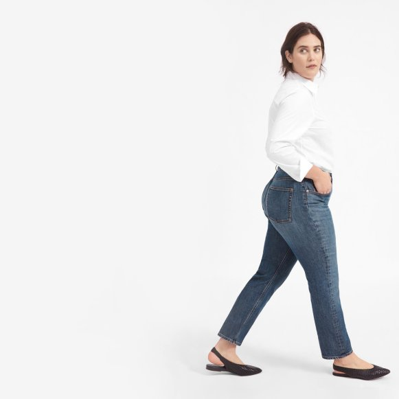 The Cheeky Straight Jean in Faded Indigo Wash