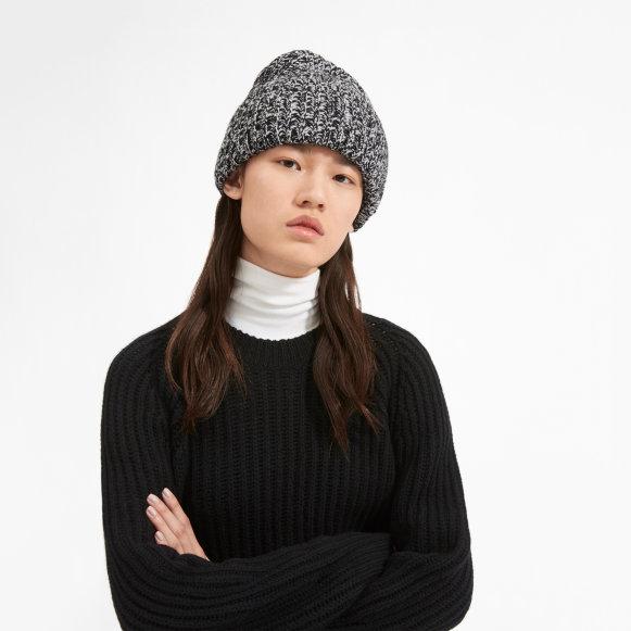 The Soft Wool Rib Beanie in Black   White Marl 1245a00ec65