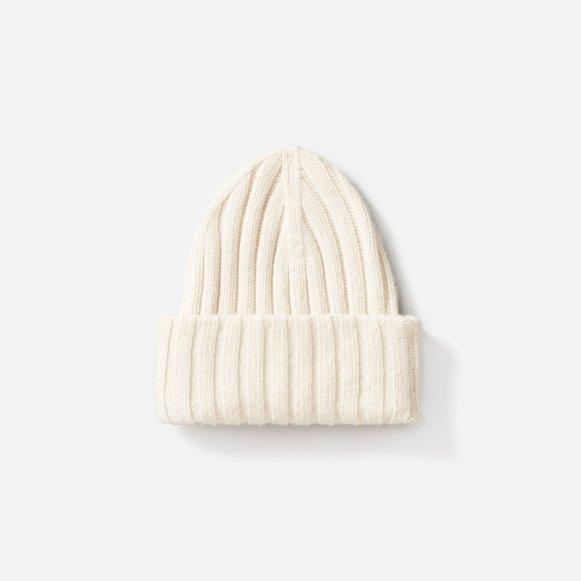 9c754bbe18b The Wool-Cashmere Rib Chunky Beanie in White