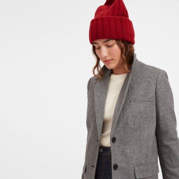 The Wool-Cashmere Rib Chunky Beanie in Crimson b7b1306cf5b