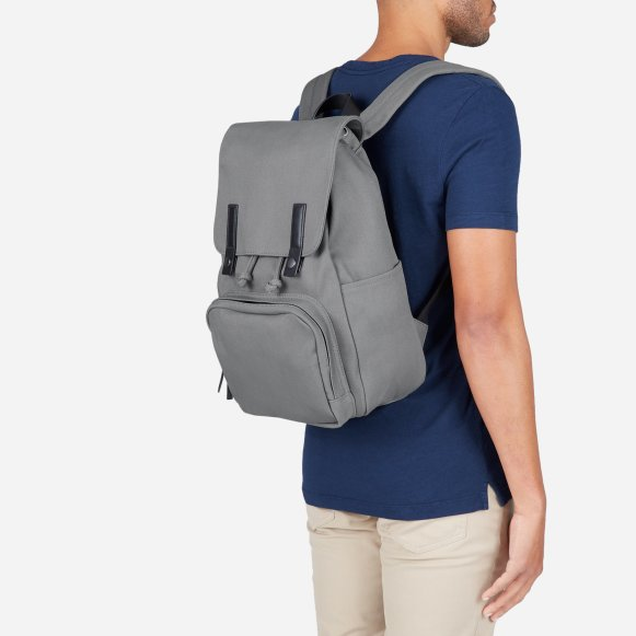 The Modern Snap Backpack in Grey + Black Leather 850cd722101c7