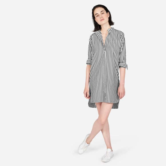 49f61ebb5895 The Cotton Poplin Collarless Shirt Dress —  65
