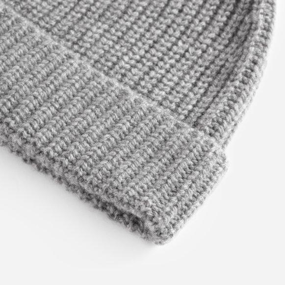 7153aedaaf9c15 The Wool-Cashmere Rib Beanie in Heather Grey