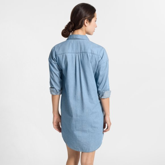 f70f14cbcd3 The Long-Sleeve Shirt Dress in Light Denim