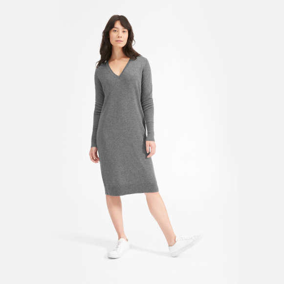 Womens The Cashmere V Neck Midi Dress Everlane