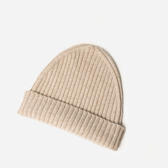 The Premium Ribbed Cashmere Beanie in Oatmeal 173bd6c868a
