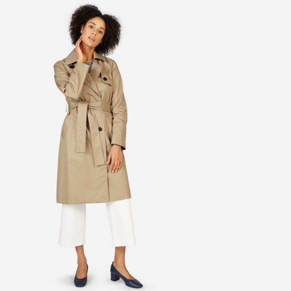 product drapes by james draped shearling back and dakota trench elizabeth pique suede viscose creme coat in