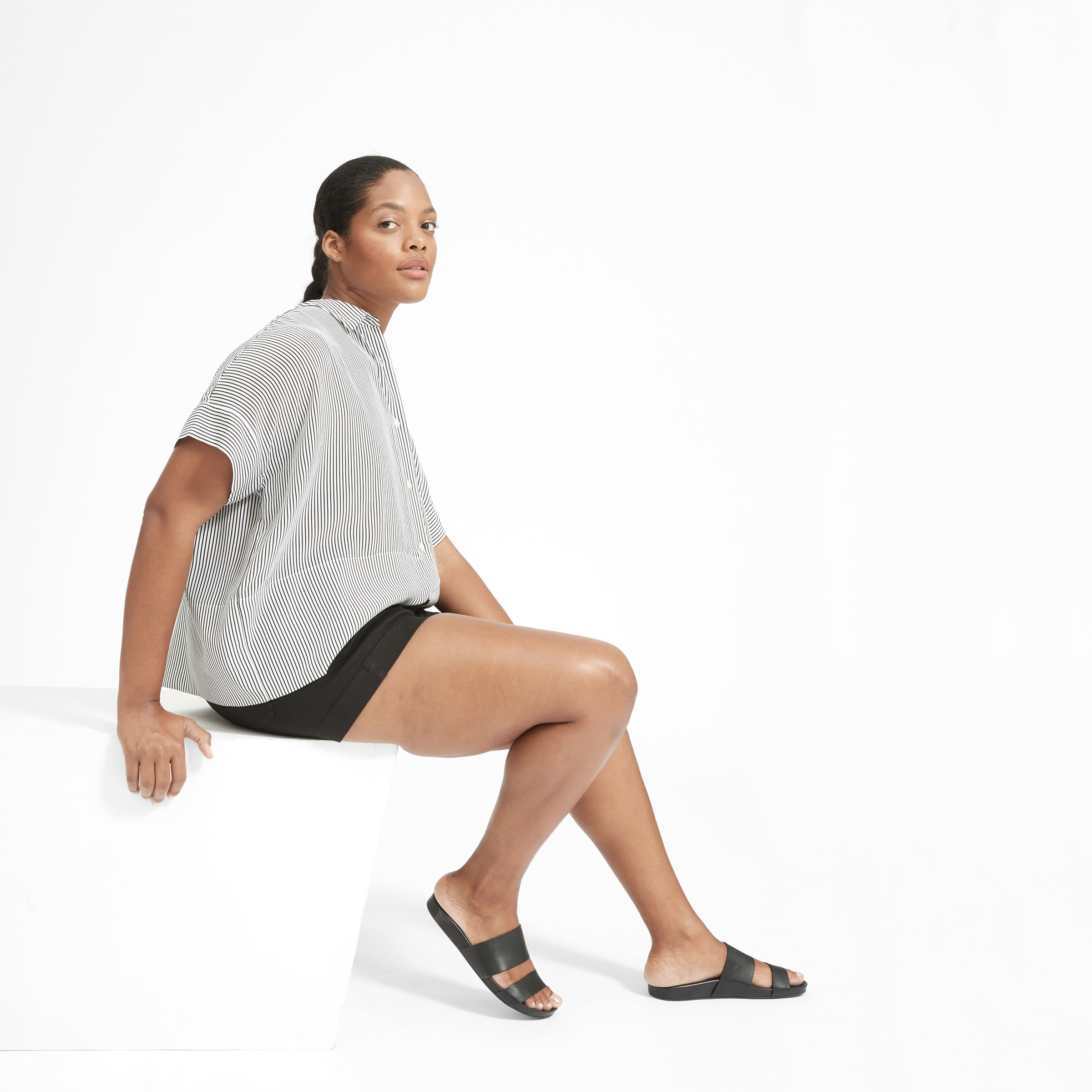 The Clean Silk Short-Sleeve Square Shirt   Everlane