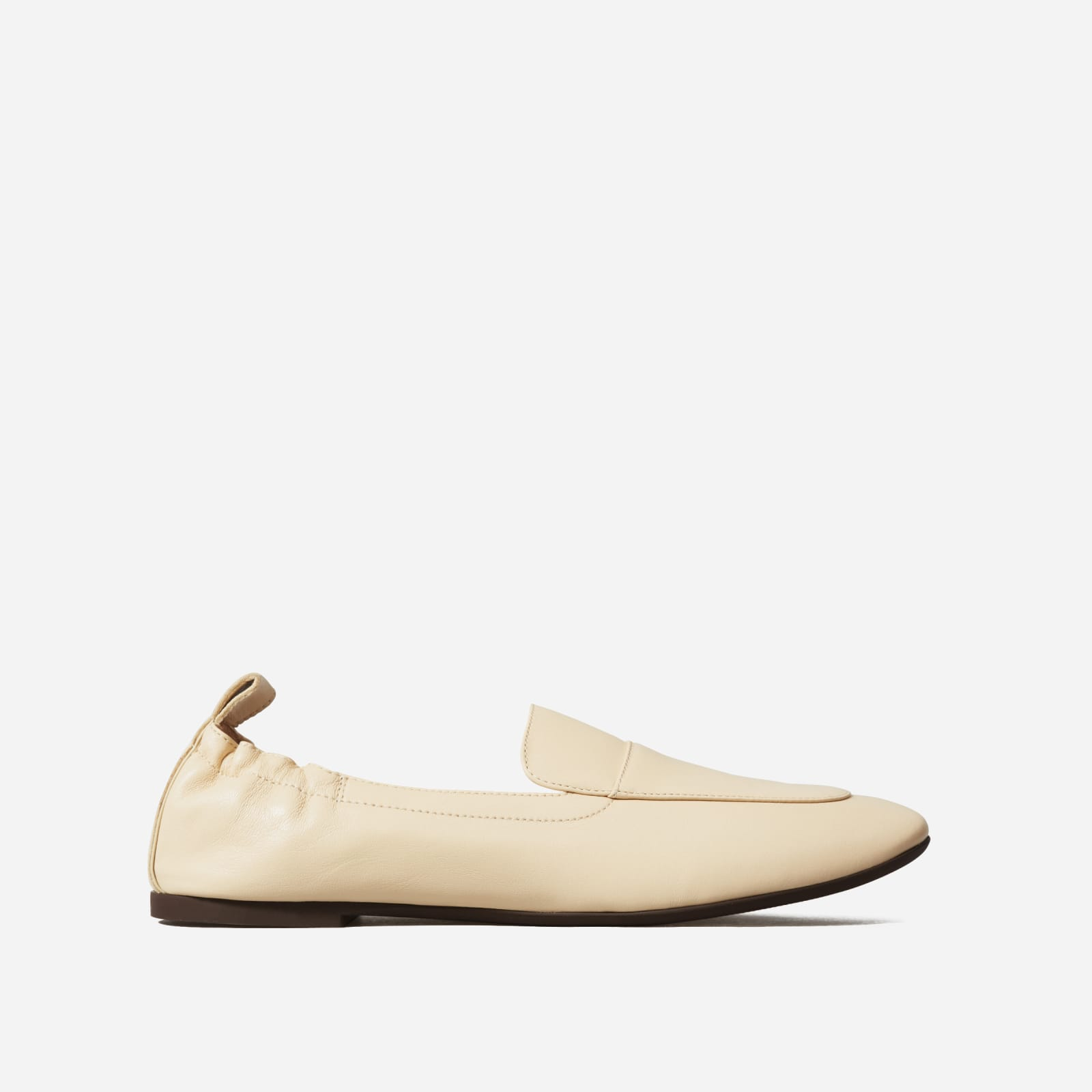 leather driving loafers by everlane in cashew, size 5