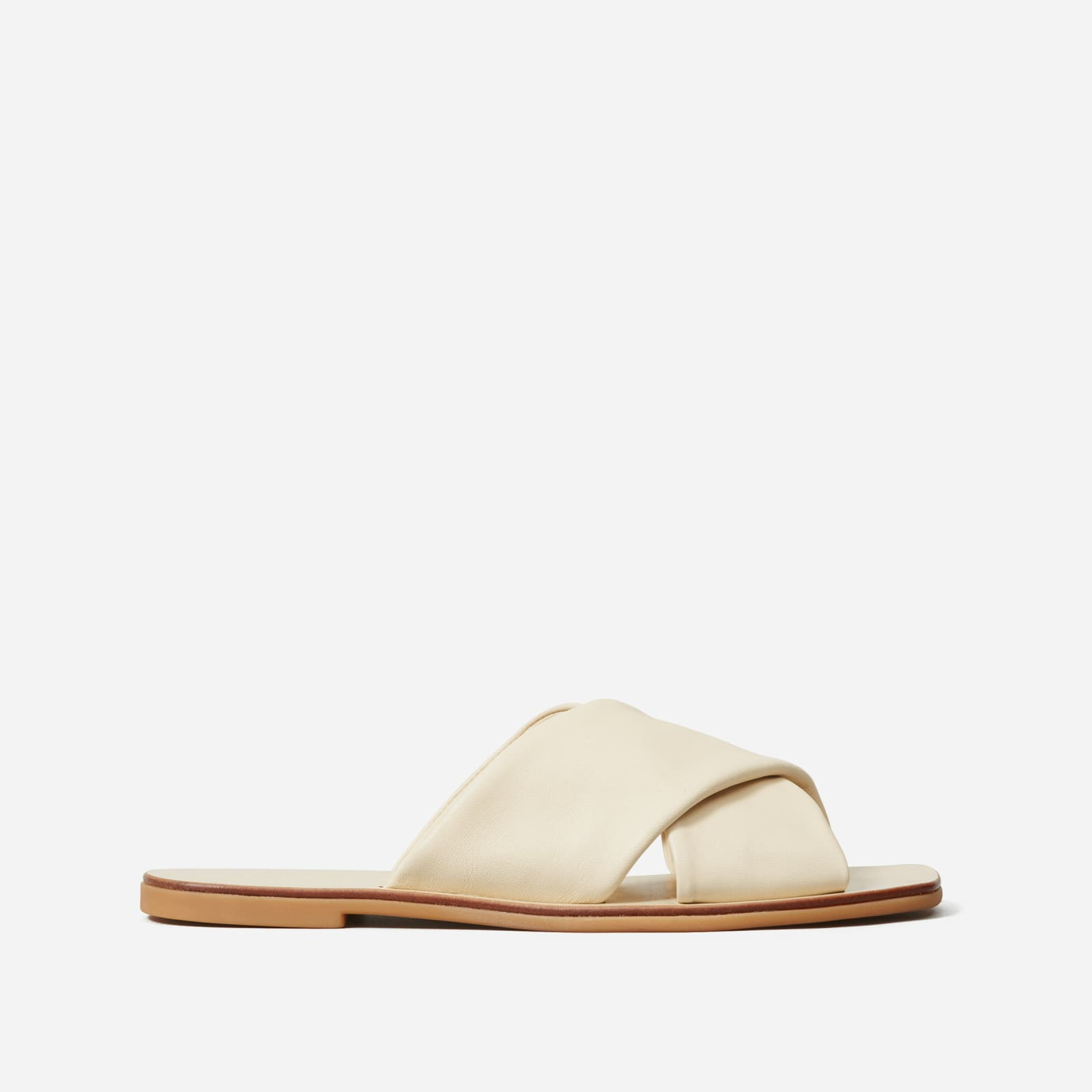 day crossover sandal by everlane in cream, size 5