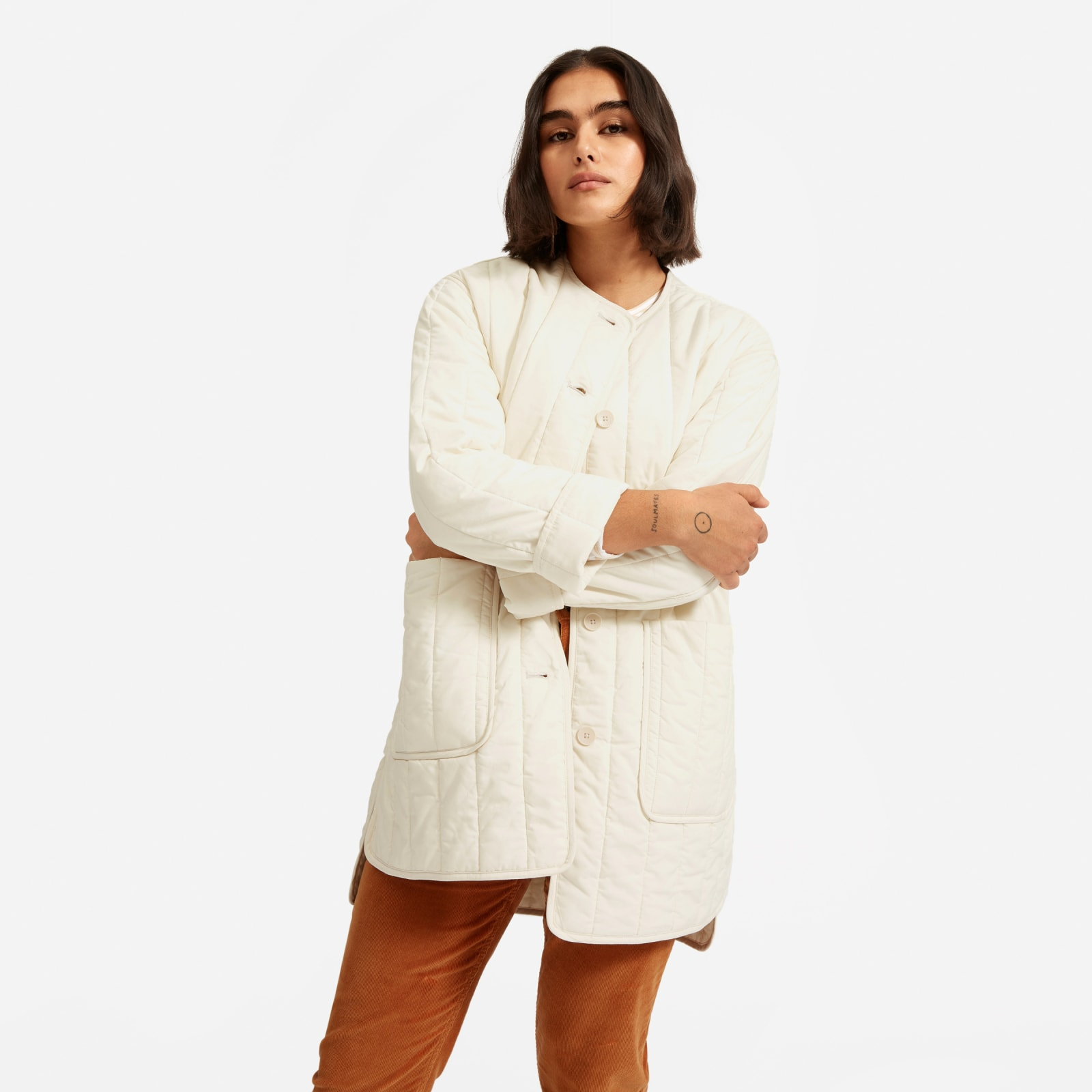 women's cotton quilted jacket by everlane in canvas, size xxs