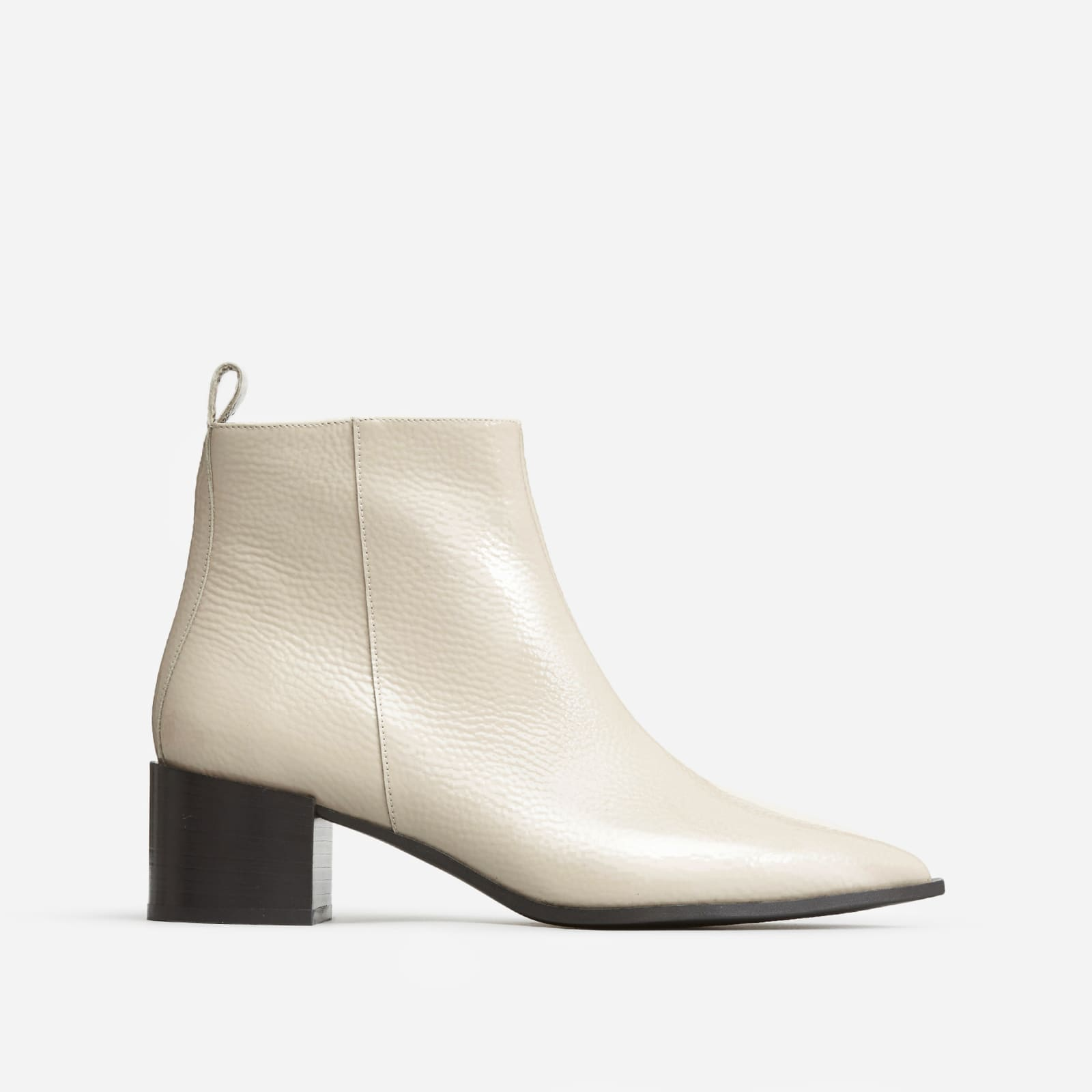 boss boot by everlane in bone patent, size 6.5