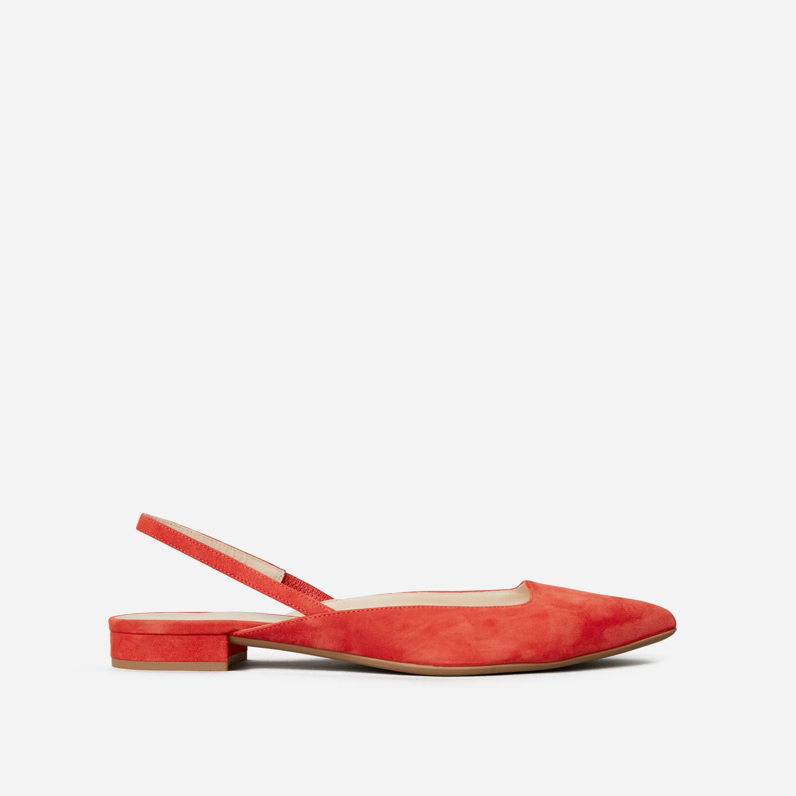 editor slingback by everlane in persimmon suede, size 5