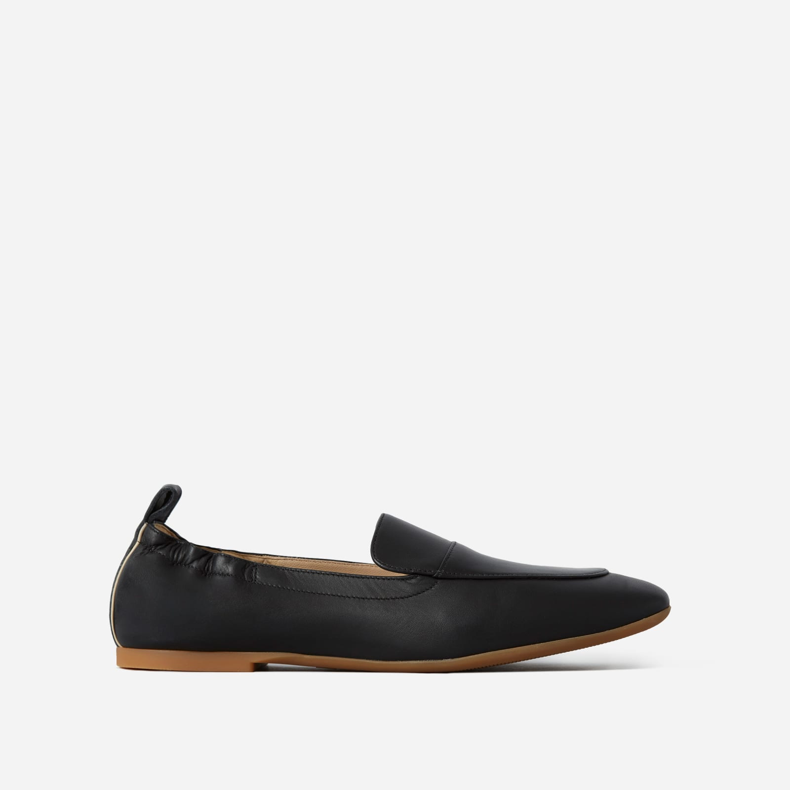 leather driving loafers by everlane in black, size 5